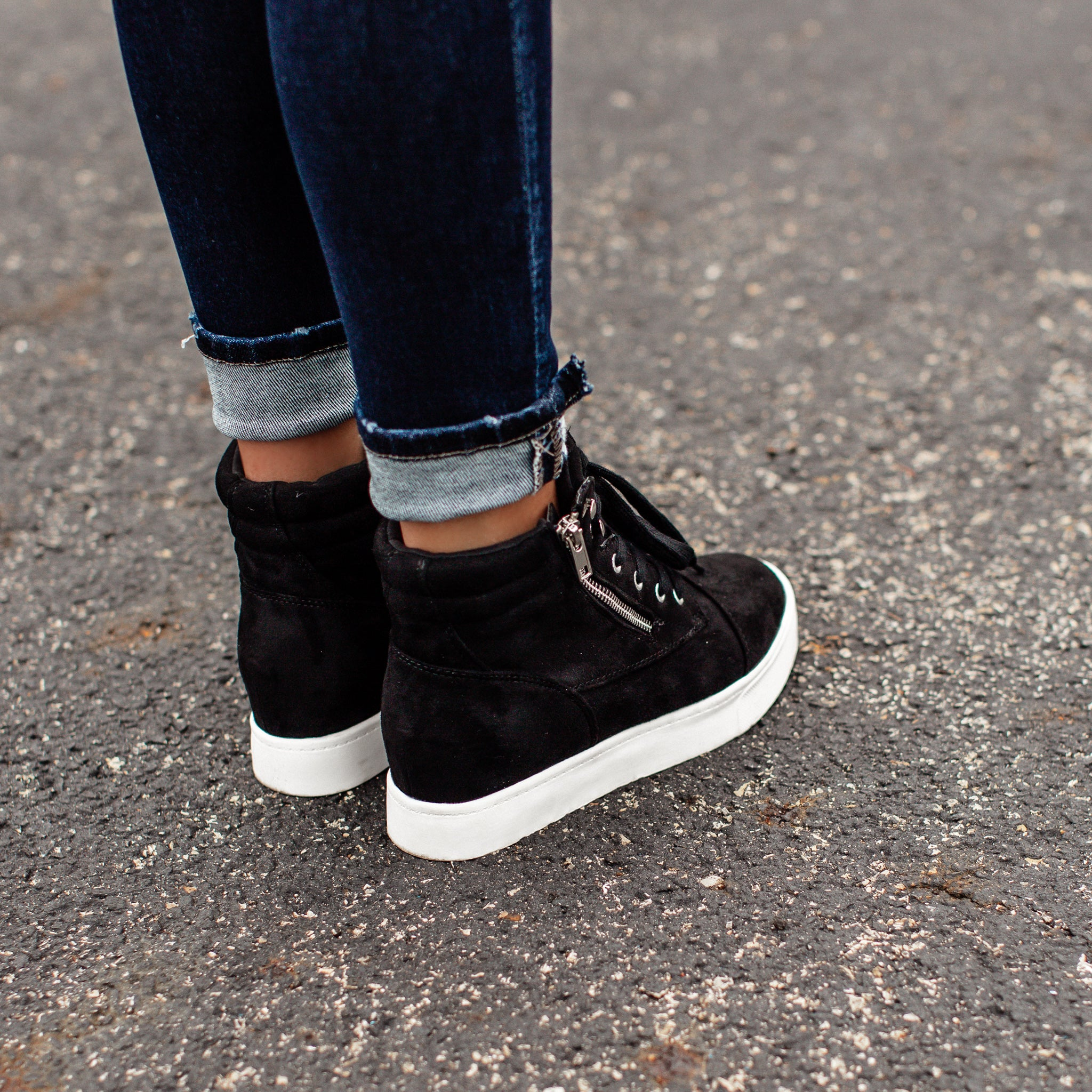 Fresh High Top Lace Up Shoes (5.5-11) *BLACK