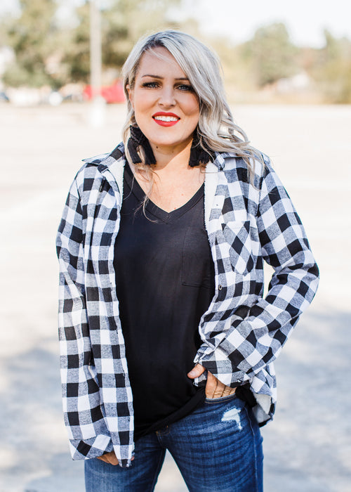 Fleece Lined Flannel **White/Black ( S-3X )