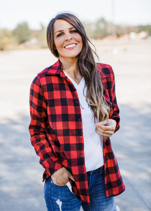 Plaid Fleece Lined Flannel **Red/Black ( S-3X )