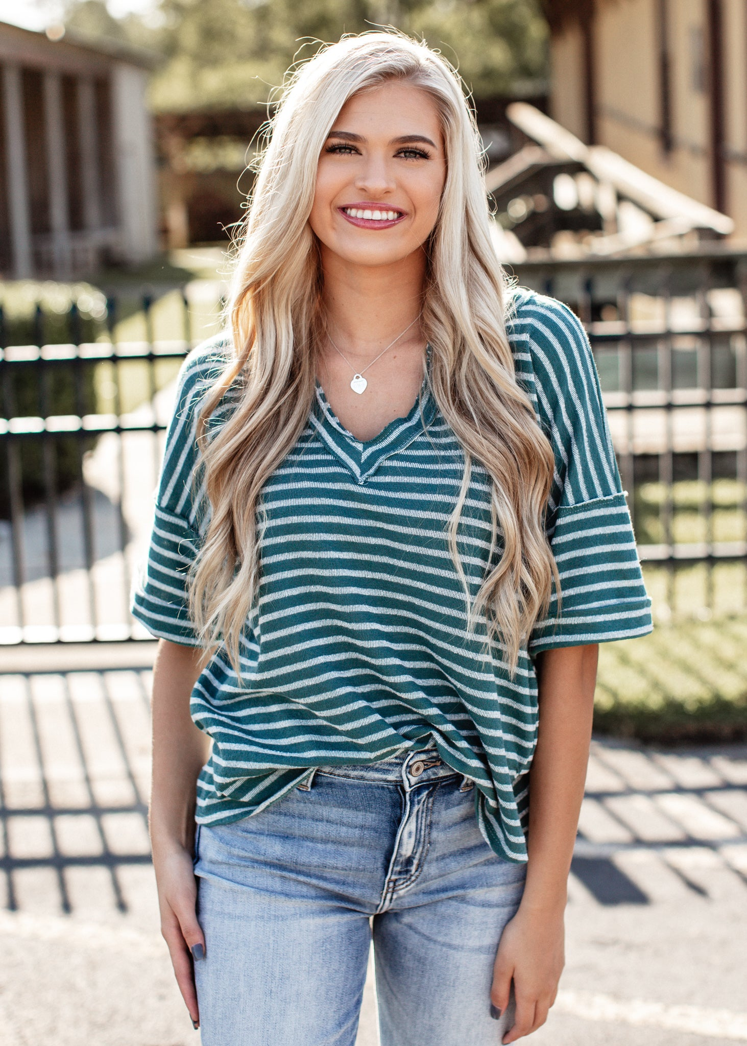 Under The Stars Stripe Top *TEAL