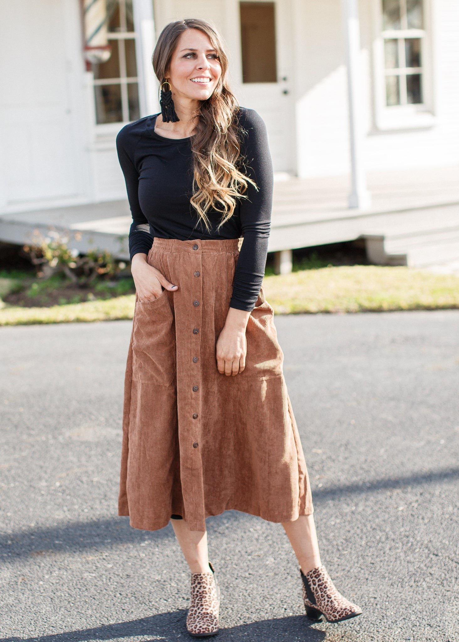 Corduroy Button Down Skirt *Camel