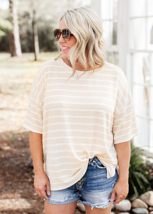 Oversized Yellow/Ivory Top