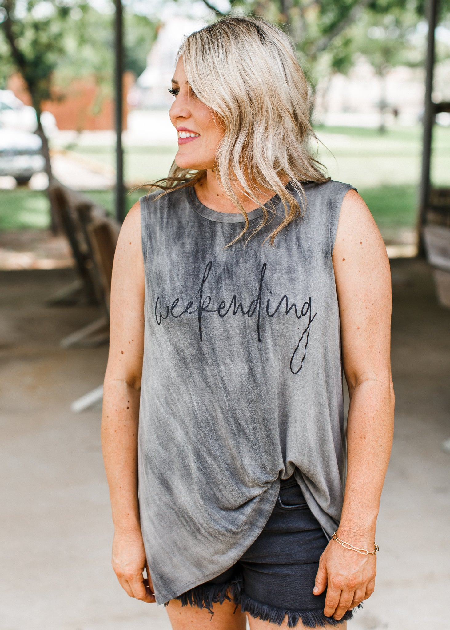 Weekending Charcoal Top