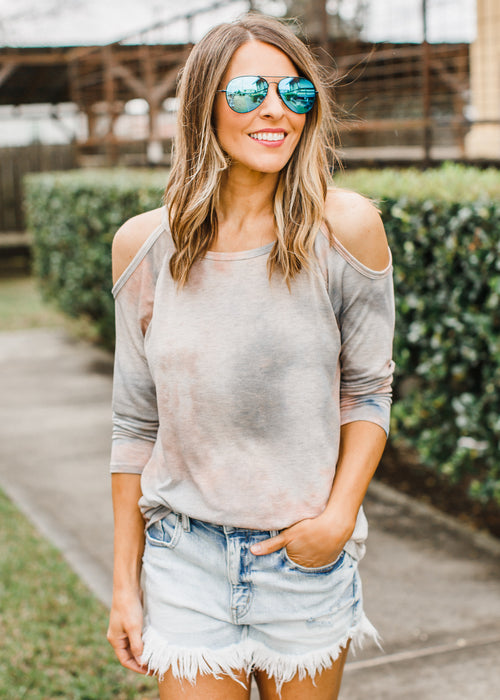 Grey Tie Dye Cold Shoulder Top
