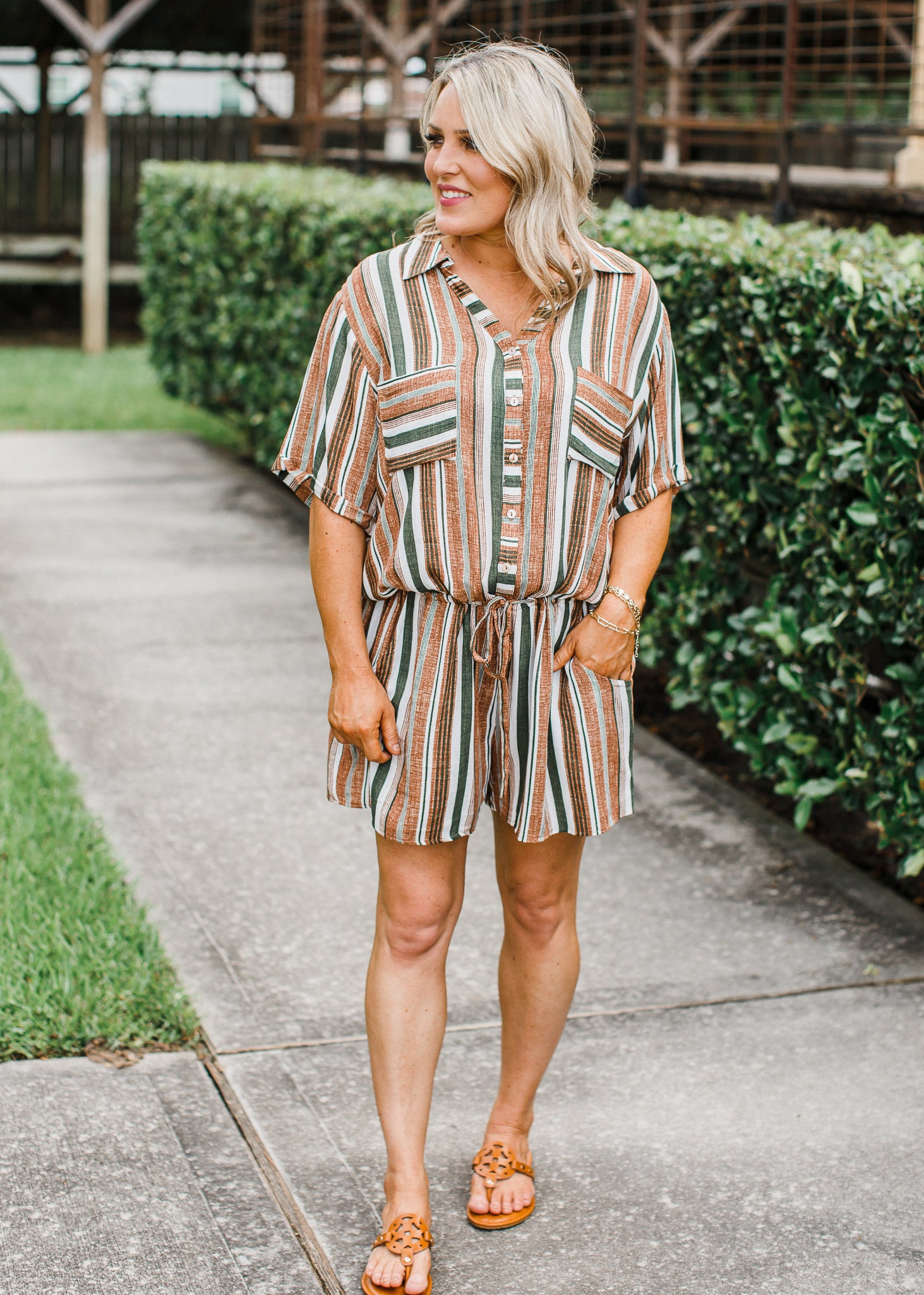 Olive Stripe Romper (CAN SIZE DOWN)