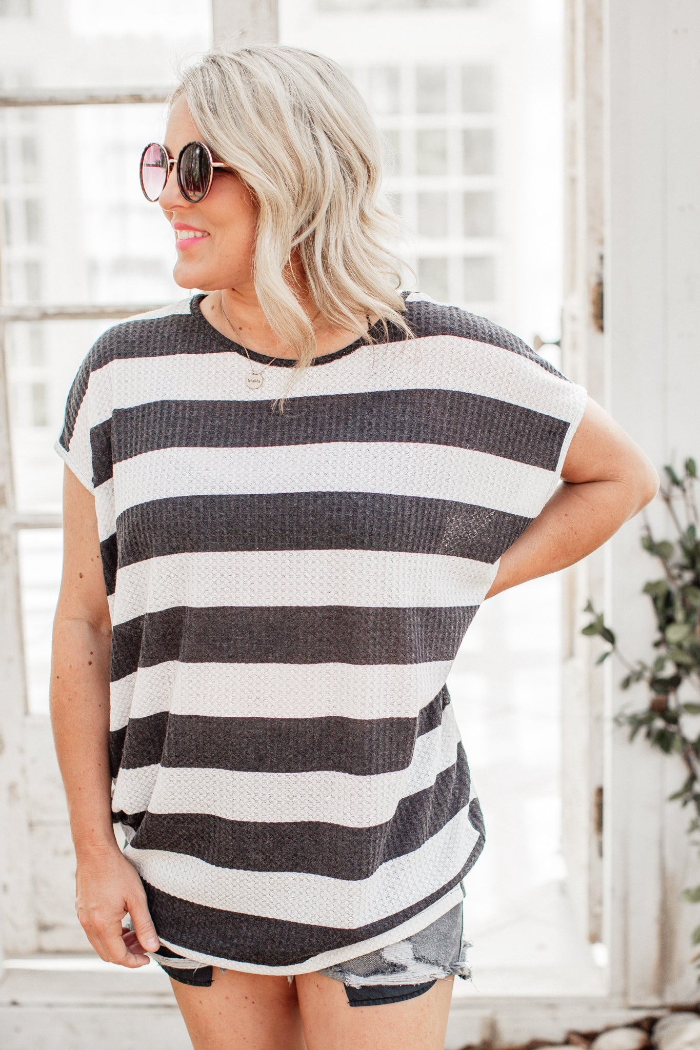 Willa Waffle Stripe Top (S-3X) *BLACK
