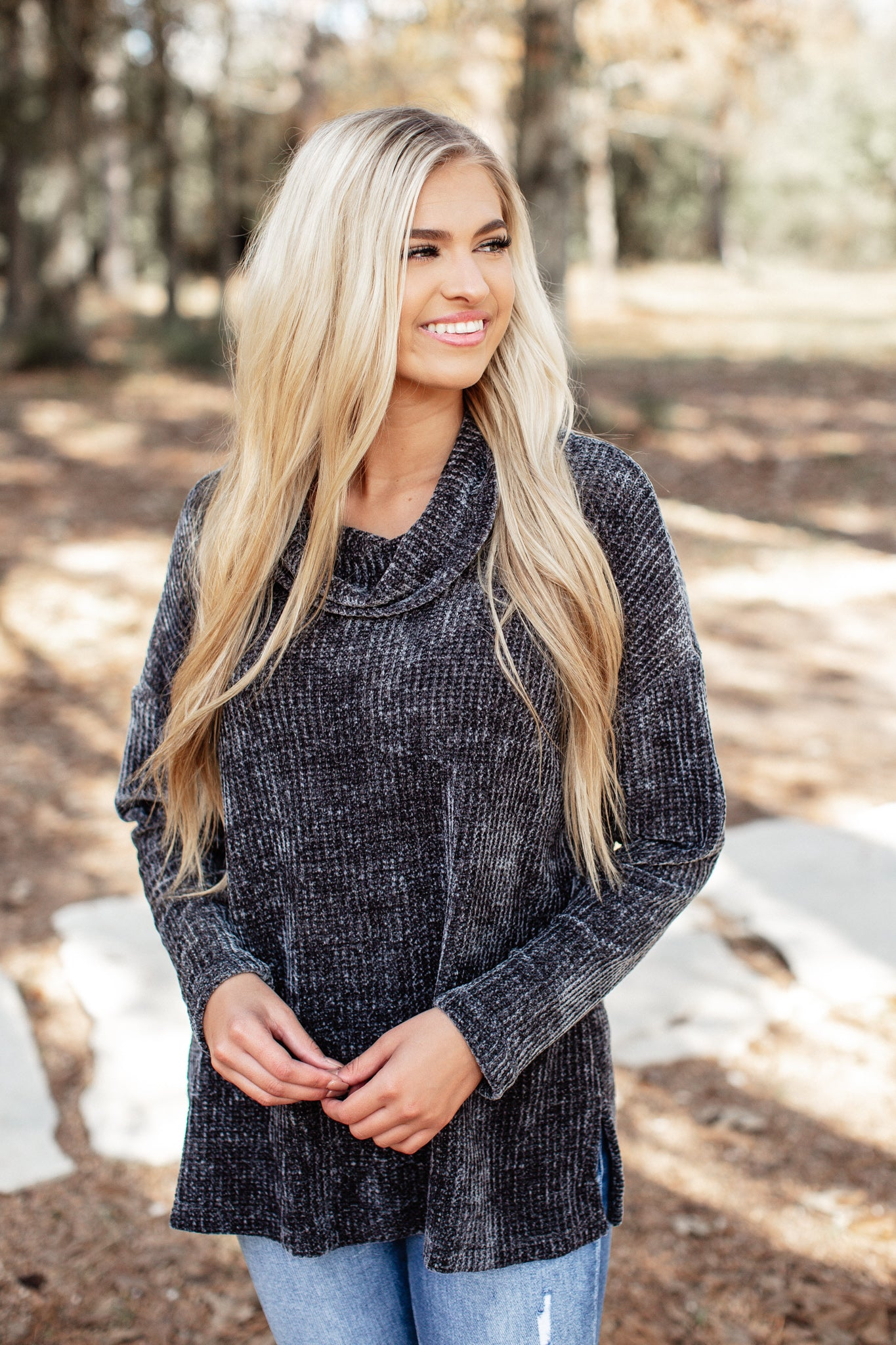 Charcoal Chenille Cowl Neck Top