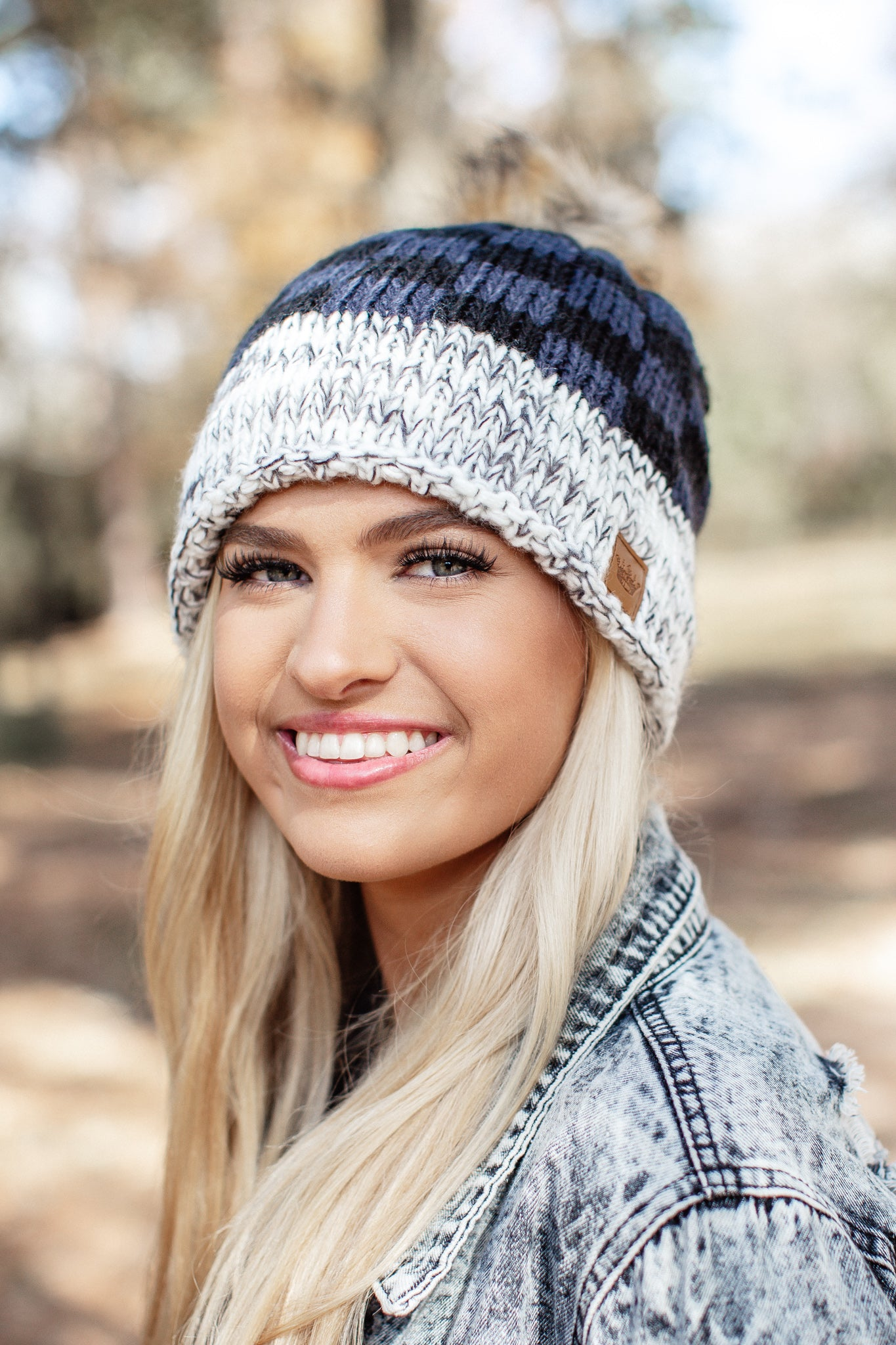 Blue and Black Checkered Pom Beanie