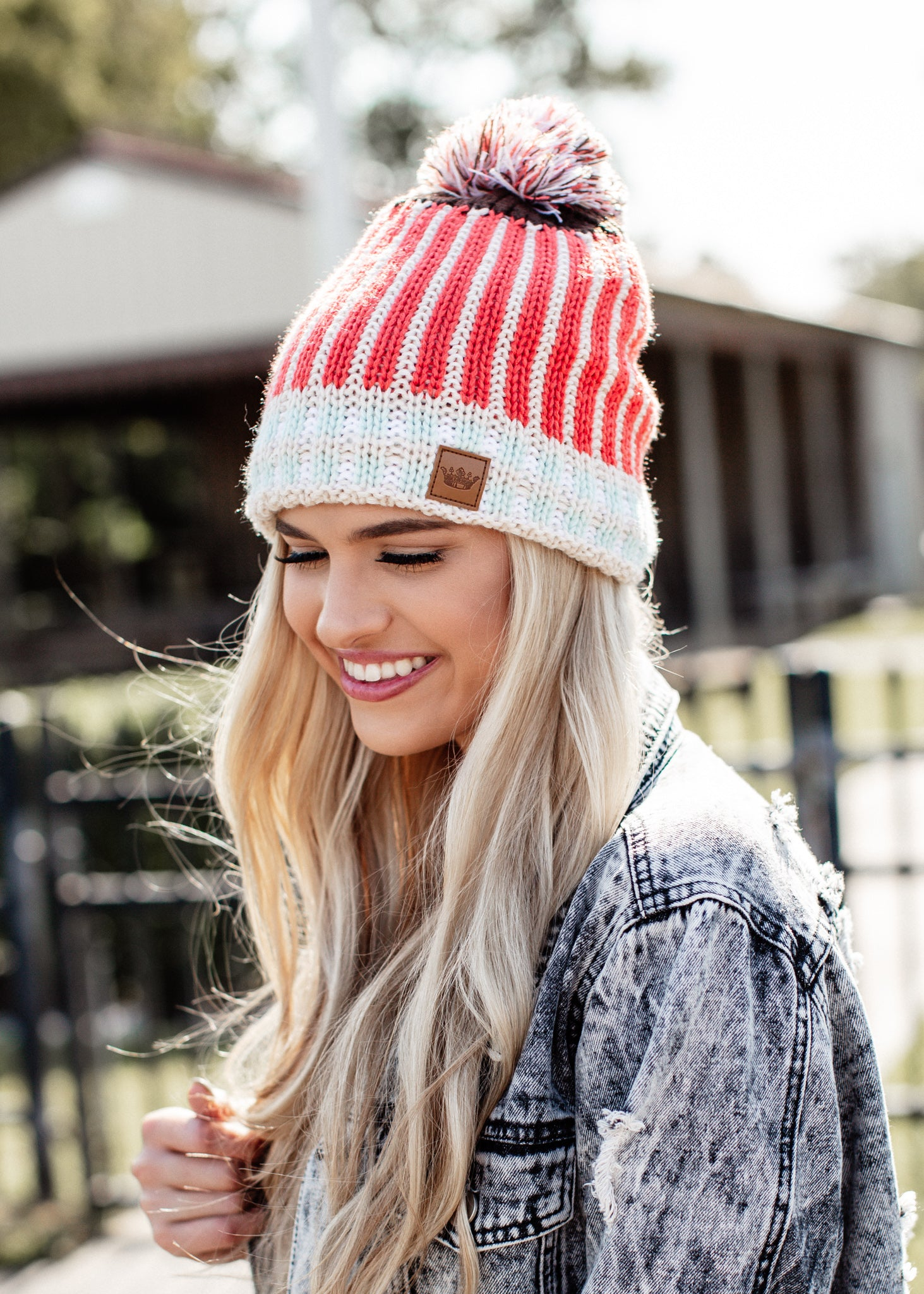 Stripe Pom Beanie Fleece Lined *CORAL