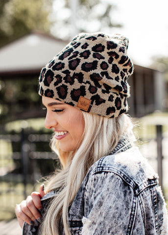 Checkered Pom Beanie *BROWN/BLACK