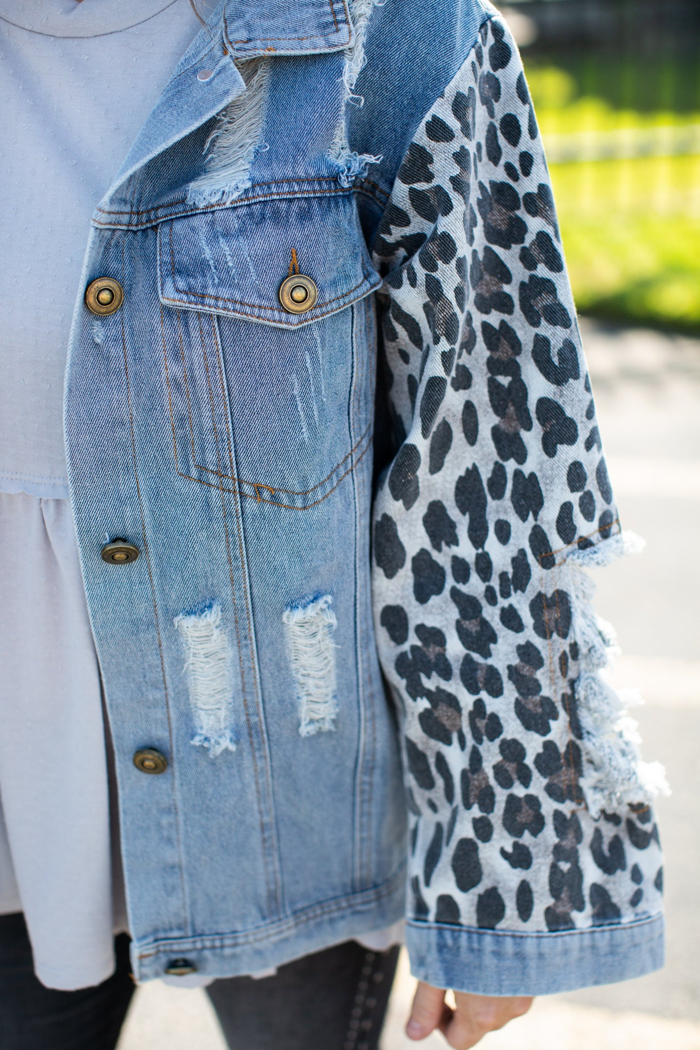 Distressed Denim Leopard Jacket