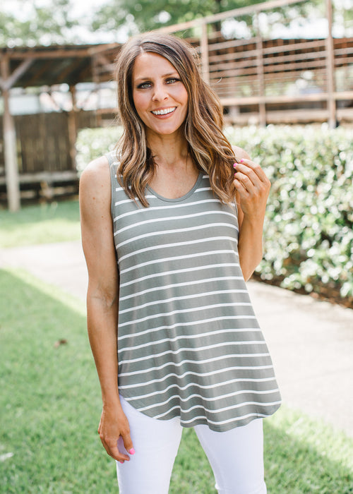 Stripe Sleeveless Top (S-XL & 1X-3X) *LIGHT OLIVE (6-4)