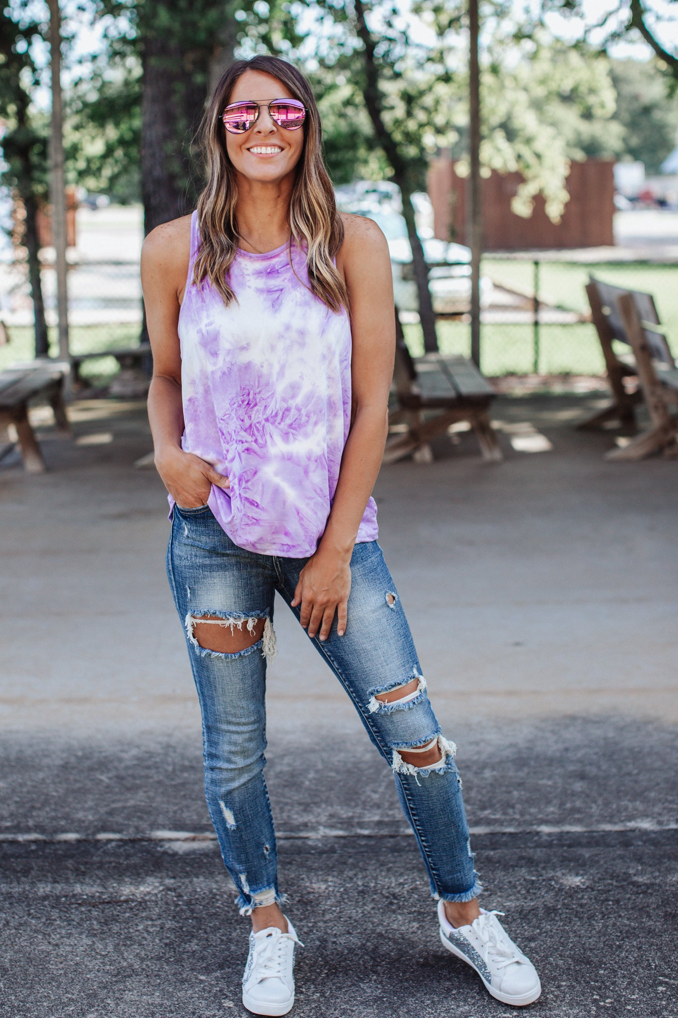 Purple Tie Dye Twist Back Top (S-3X)