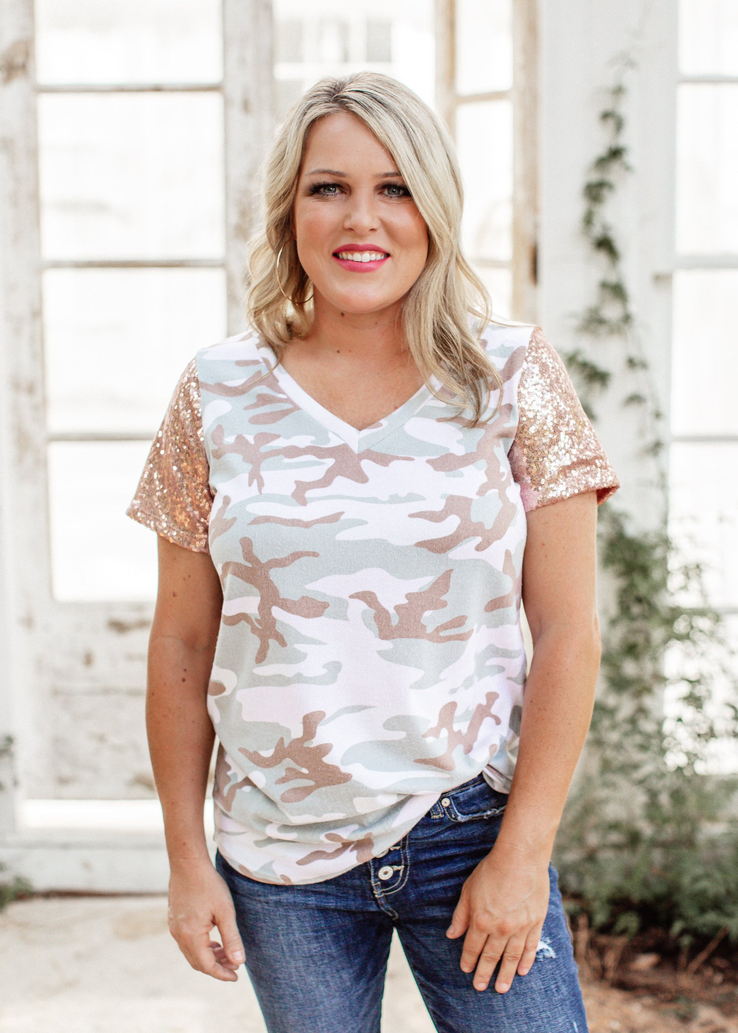 Sequin Camo Top (S-3X)