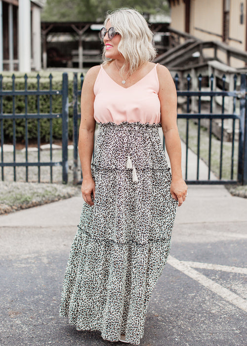 Dorinda Leopard Maxi Dress *PEACH