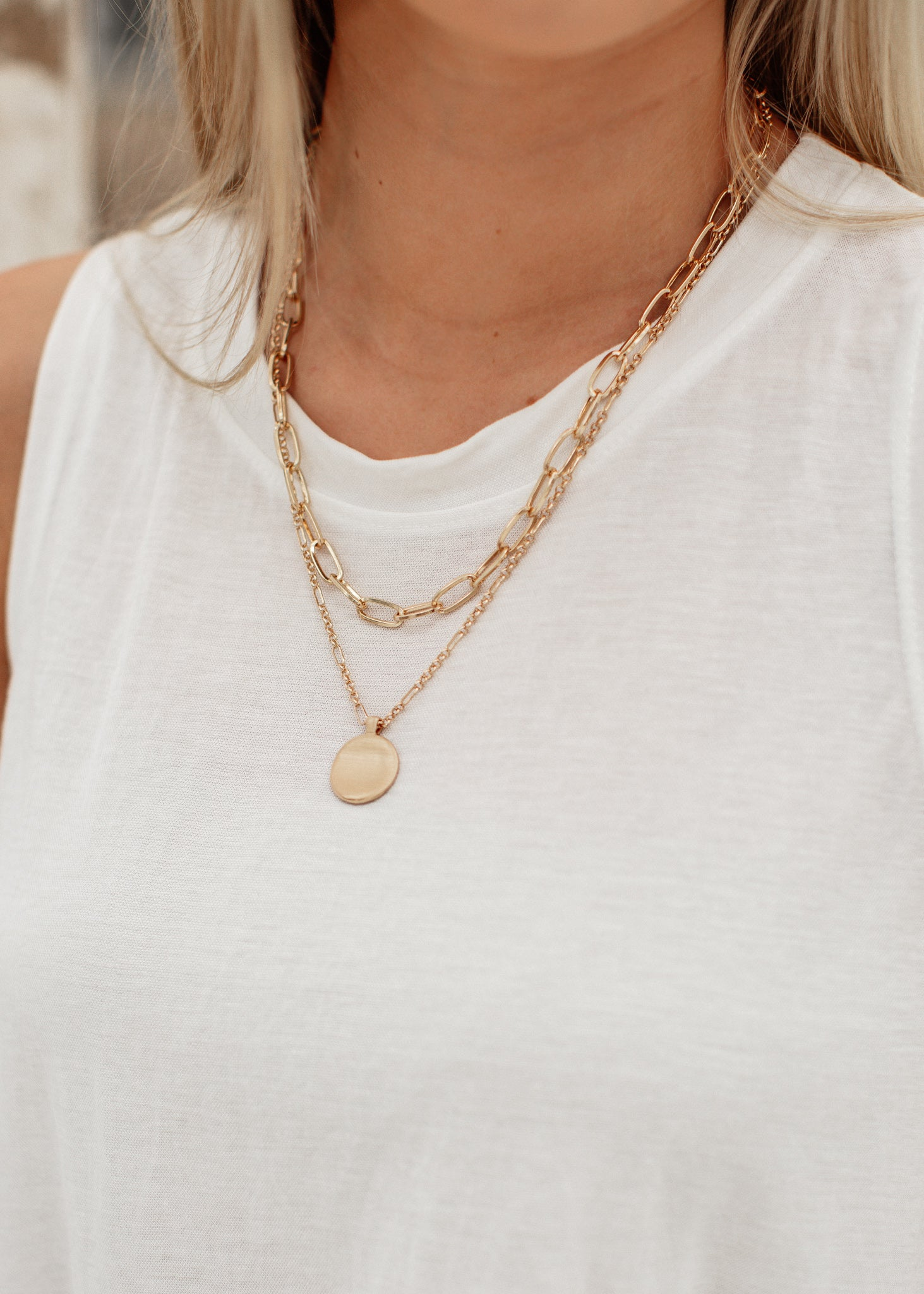 Circle Linked Layered Necklace *GOLD