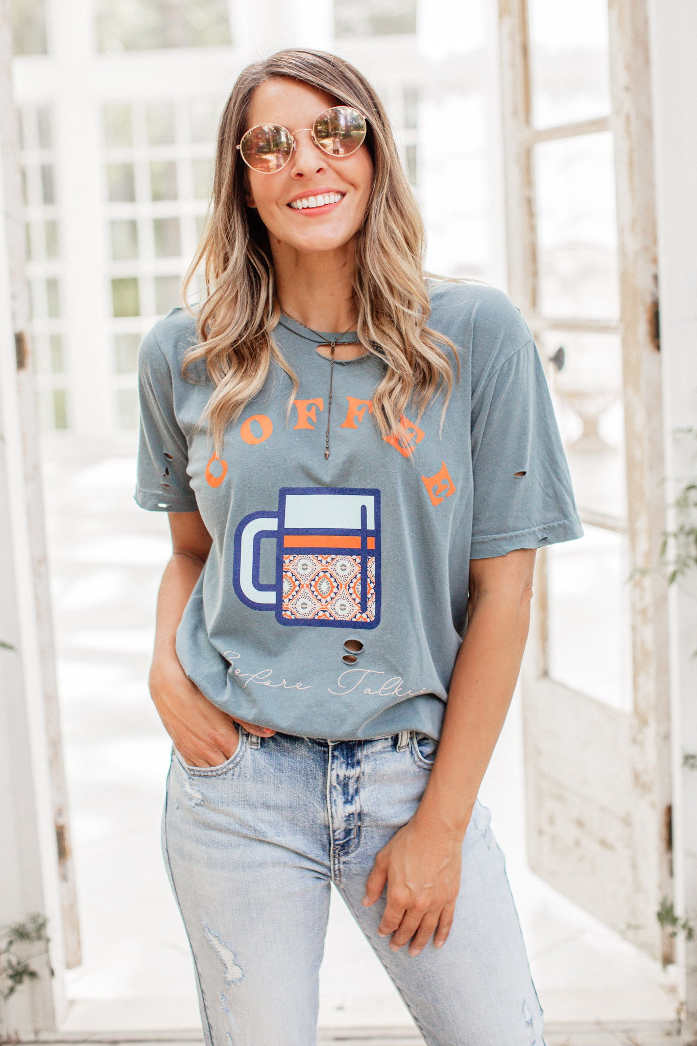 Coffee Before Talkie Distressed Tee (S-2X)
