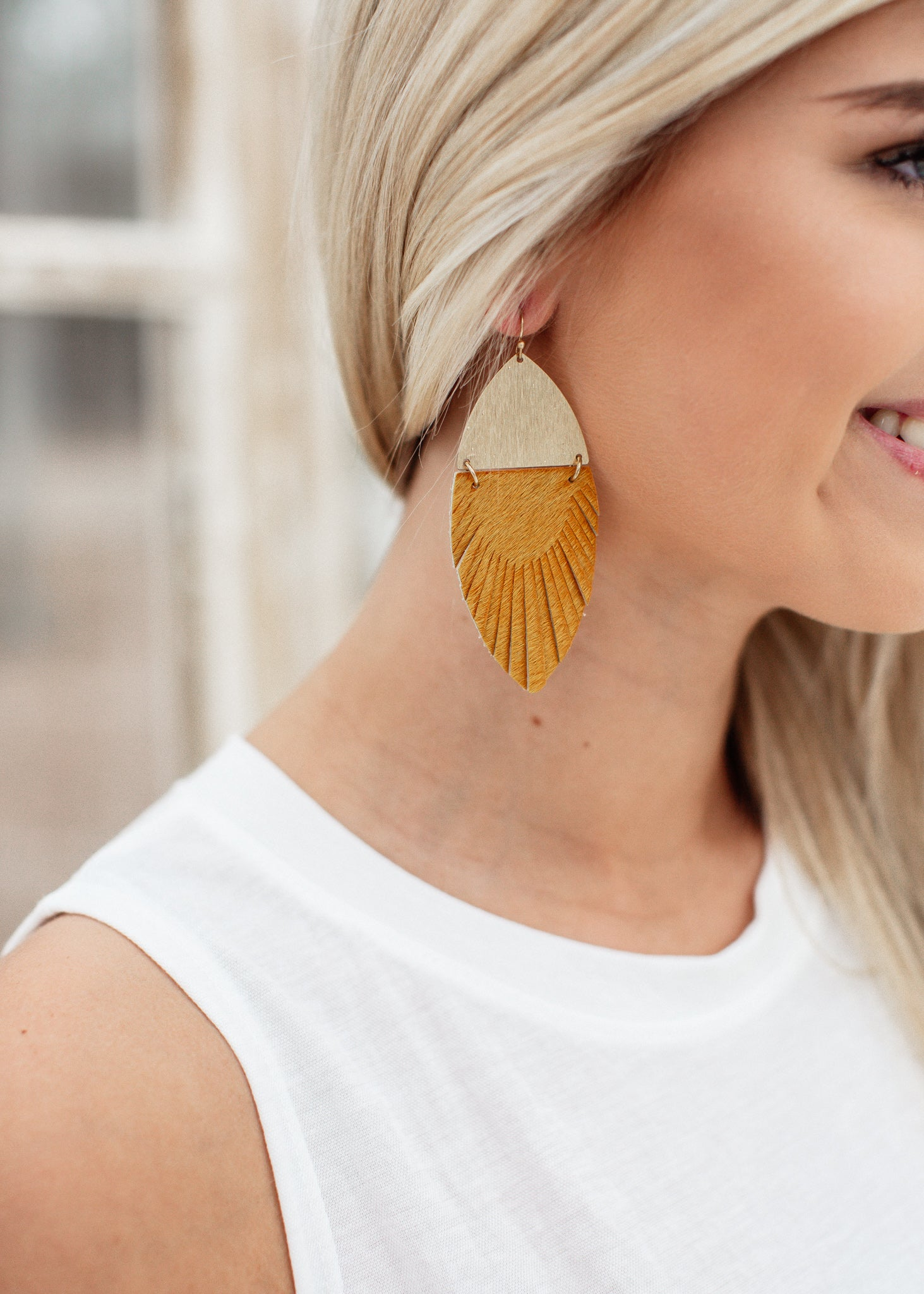 Gold Mustard Fringe Earrings