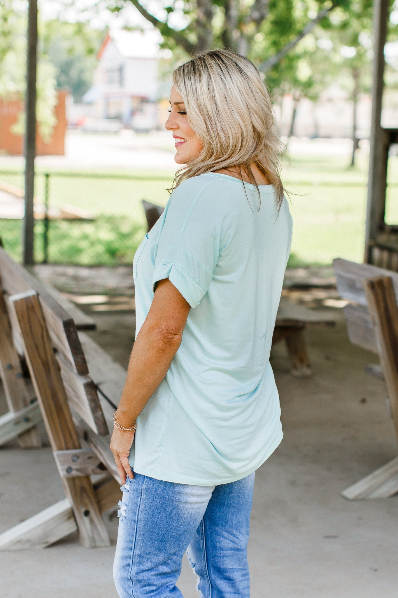 Cool Mint Boyfriend V-Neck *SIZE DOWN!