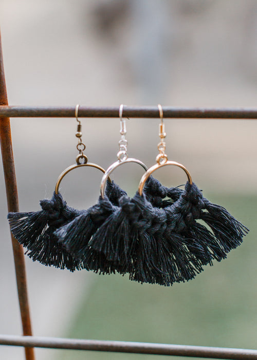 Tassle Earrings Hoop *BLACK