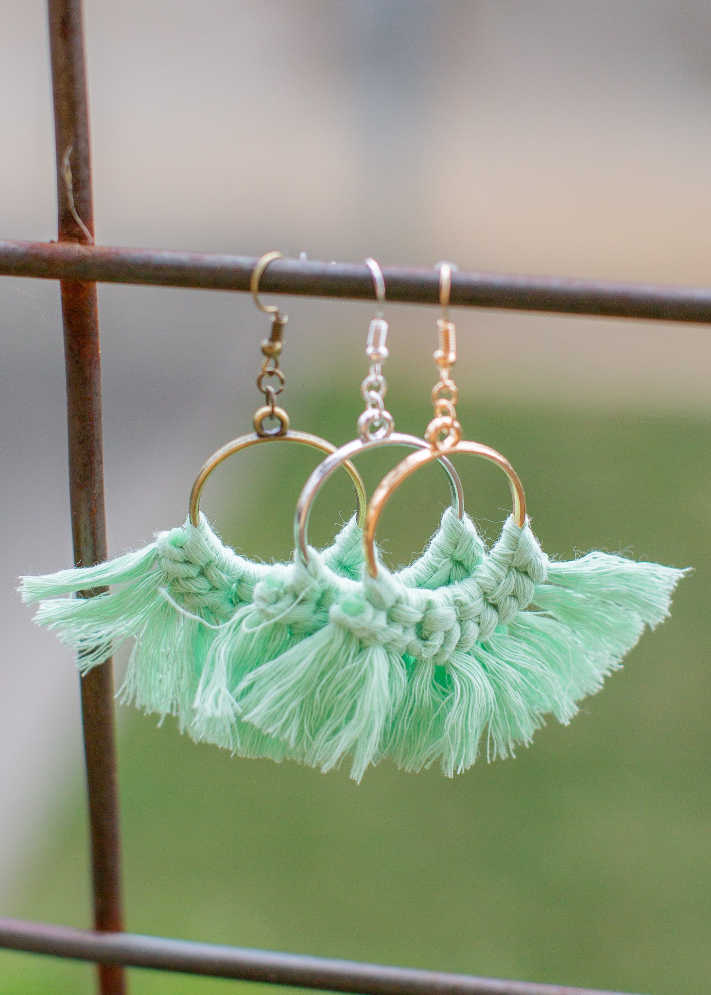 Tassel Earrings Hoop *SEA GREEN
