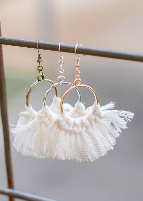 Tassle Earrings Hoop *WHITE