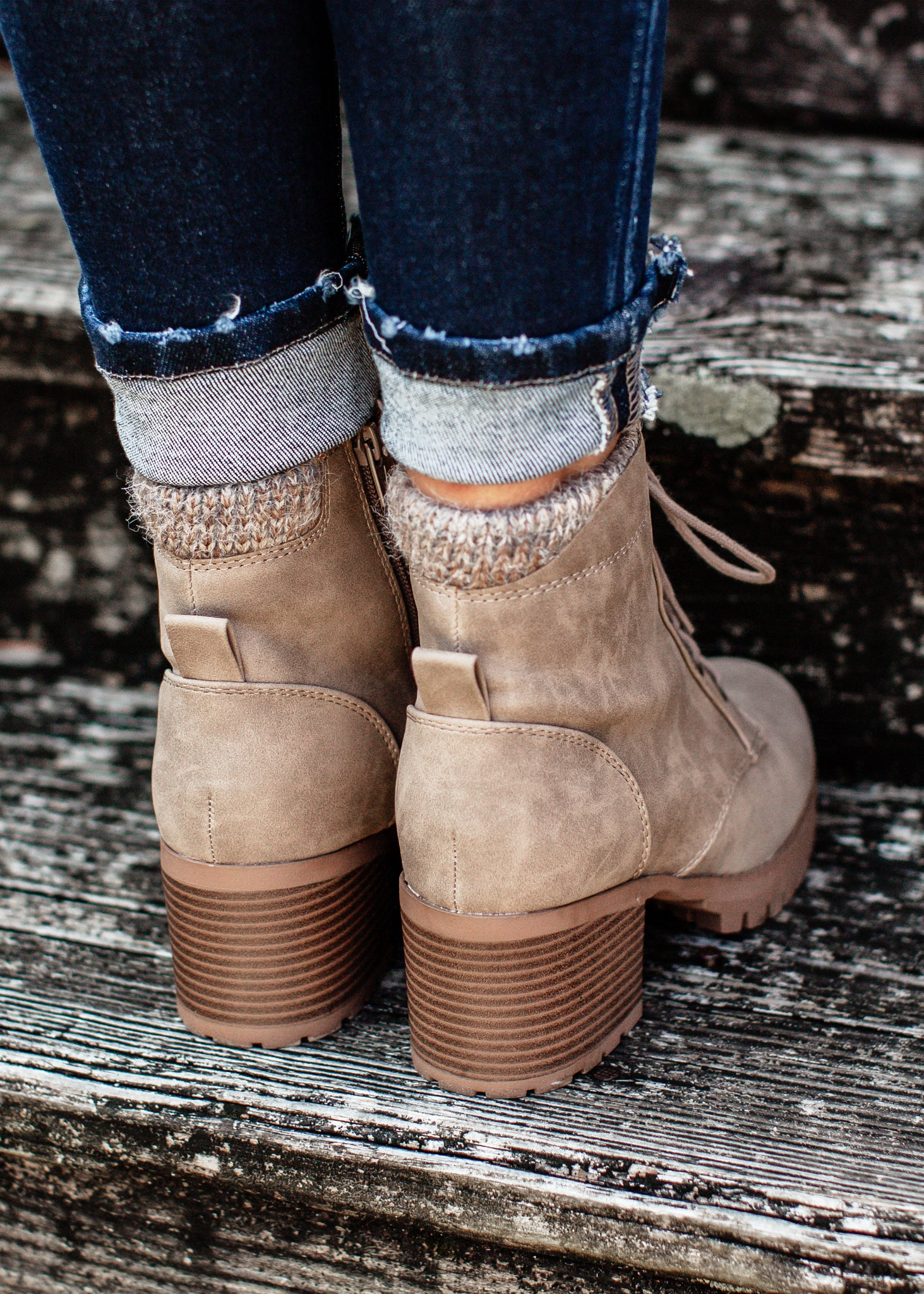 Taupe Lace Up Boot (5.5-11)