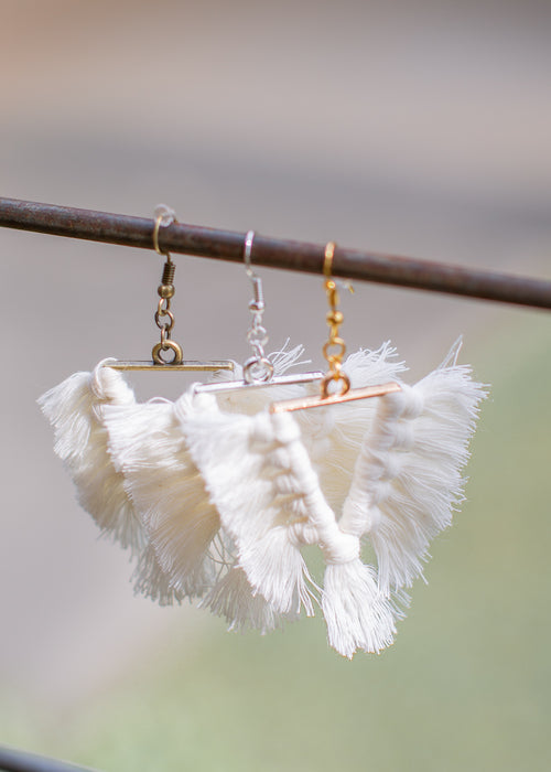 Tassel Earrings Triangle *WHITE