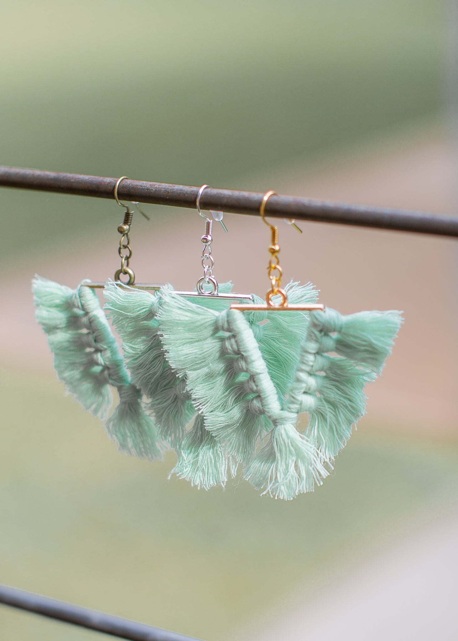 Tassel Earrings Triangle *SEA GREEN
