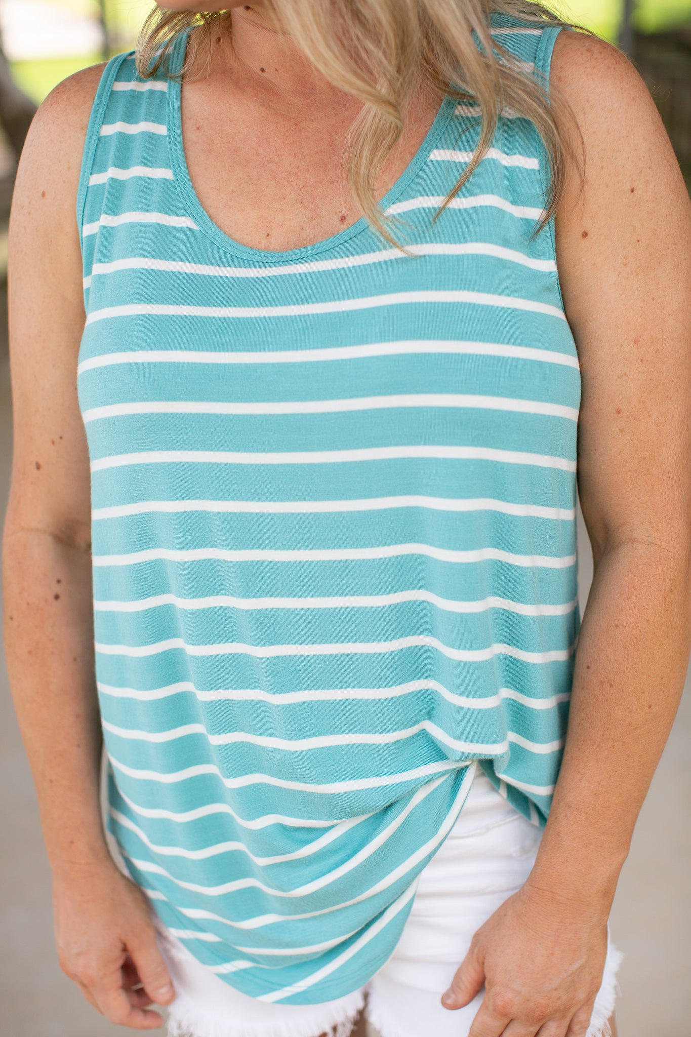 Stripe Sleeveless Top (S-XL) *ASH MINT