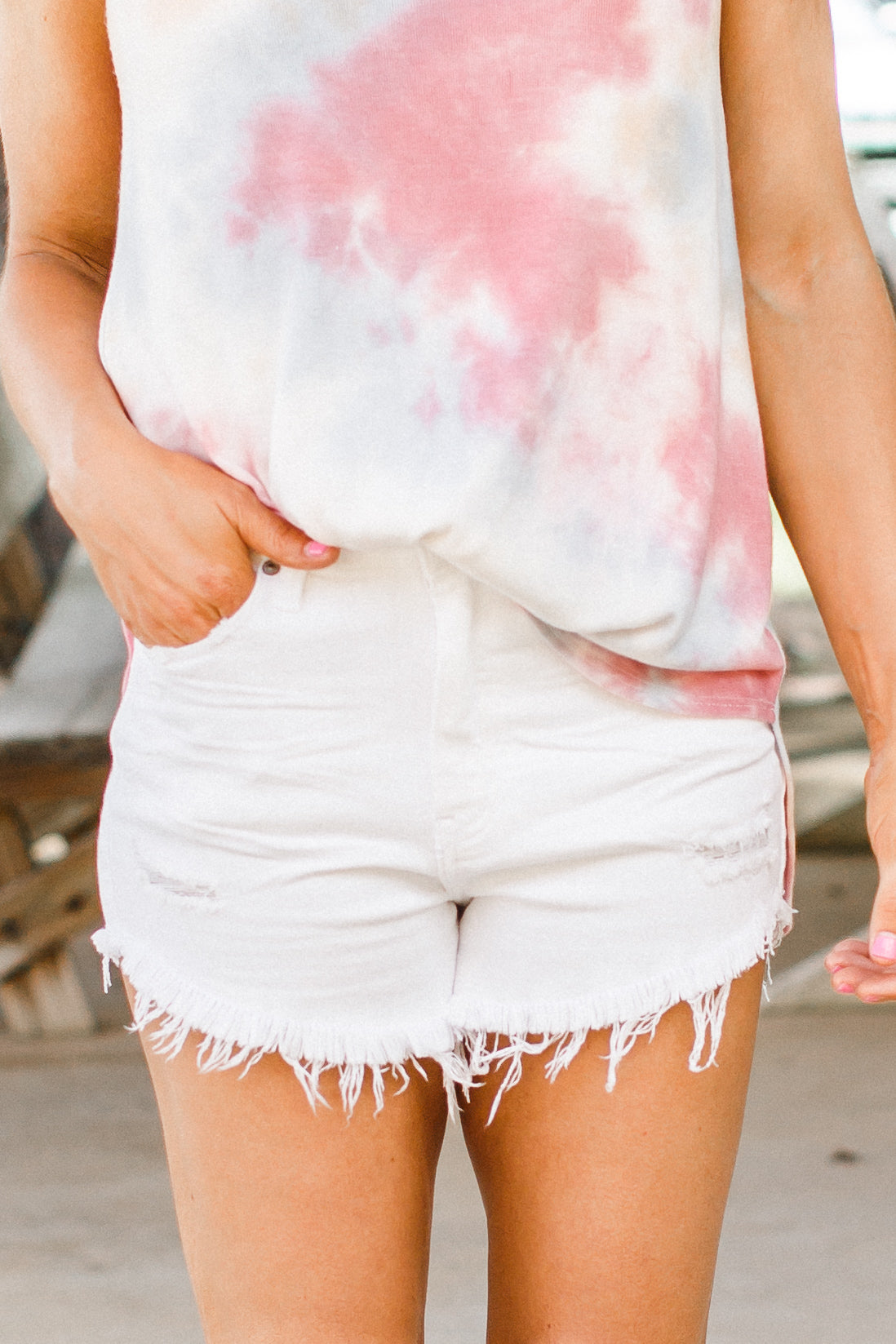 White Fray Shorts (XS-L)