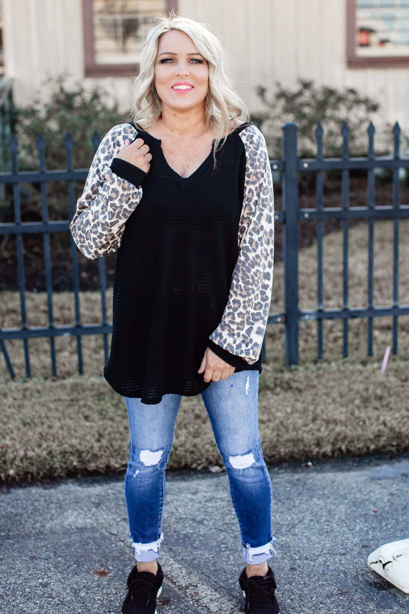 Oversized Waffle Leopard Top (Can fit XL) *BLACK