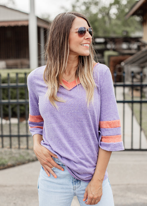 Letha Oversized Sporty Top (S-XL) *PURPLE/BRICK