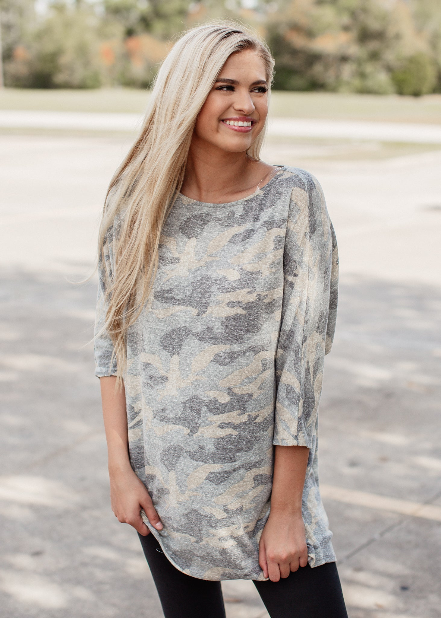 Camo Asymmetrical Dolman Top (Can fit xl)