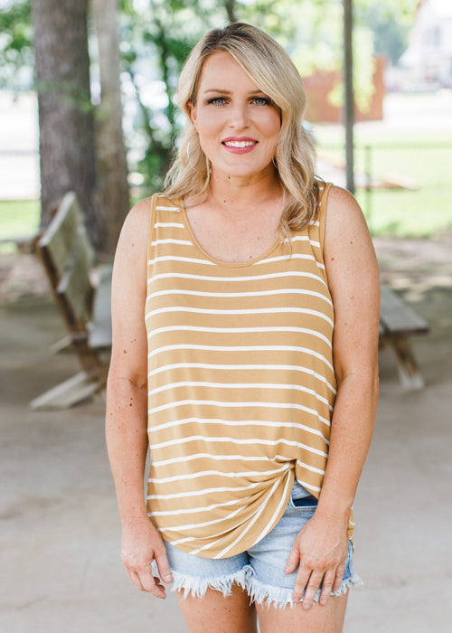 Stripe Sleeveless Top (S-XL & 1X-3X) *LIGHT MUSTARD