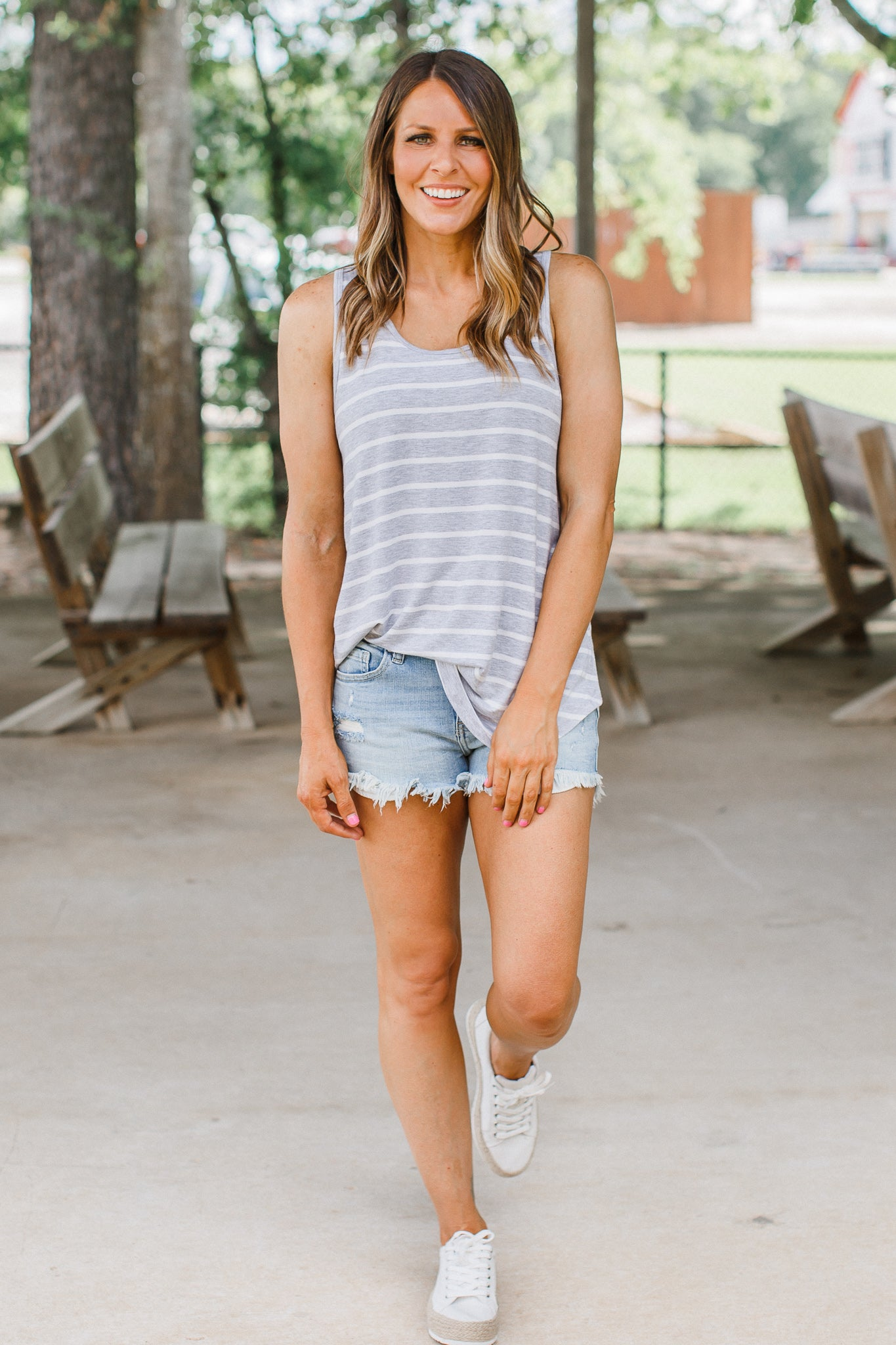 Stripe Sleeveless Top (S-XL & 1X-3X) *HEATHER GREY