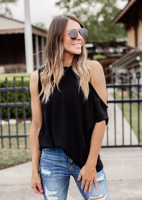 Silvia Cold Shoulder Top *BLACK