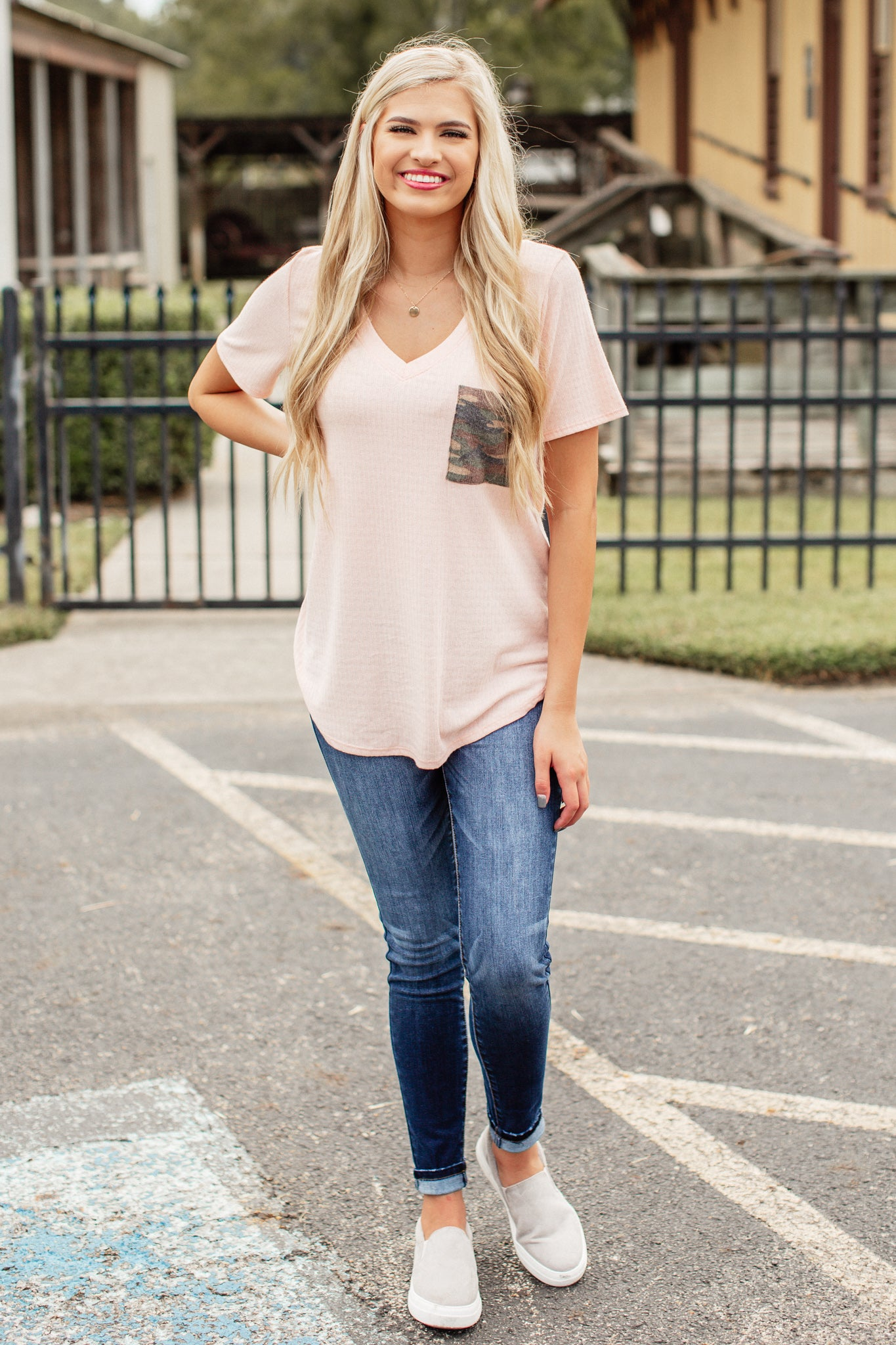 Fallon Camo Pocket Top *PEACH