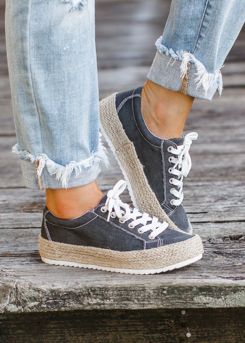 Black Washed Espadrille Shoe (6-11) *CAN SIZE DOWN 1/2 SIZE