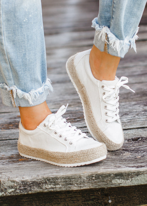 Off White Espadrille Shoe (6-11) *CAN SIZE DOWN 1/2 SIZE