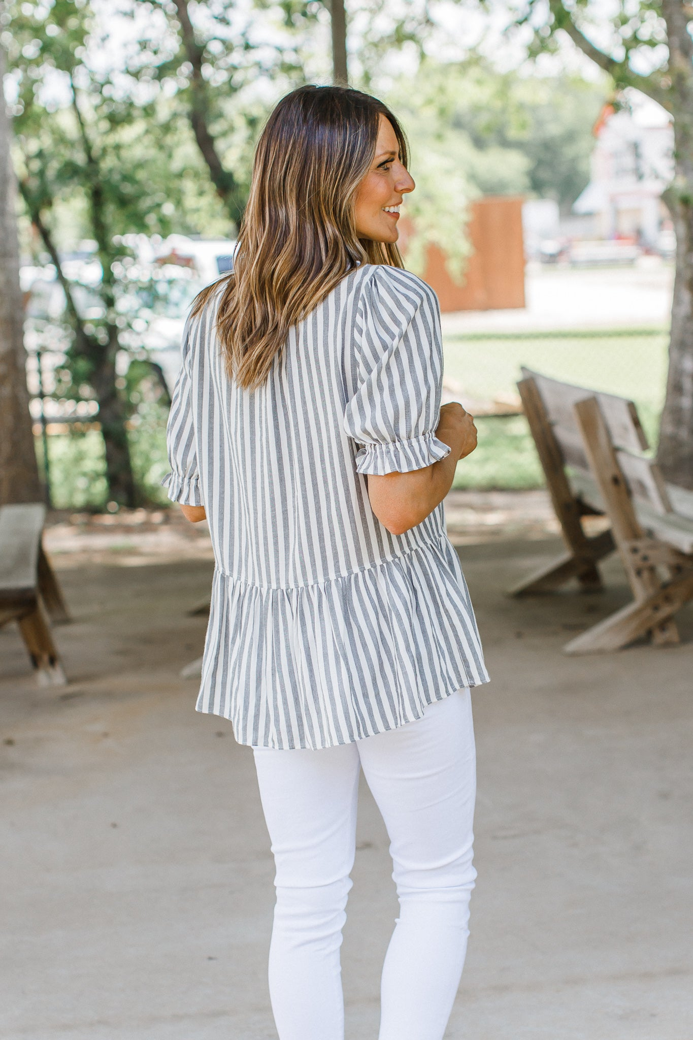 Amber Stripe Button Top