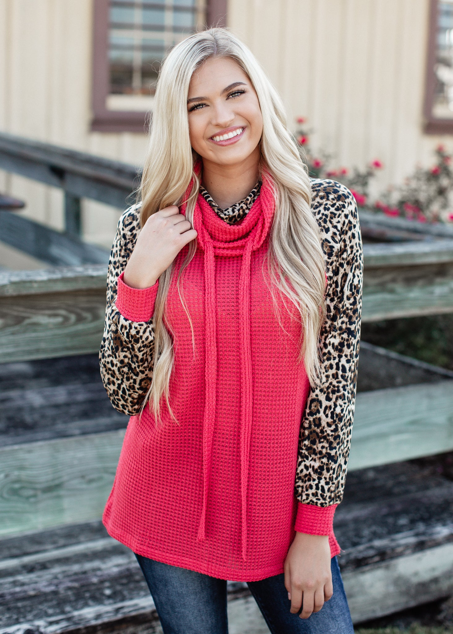 Red Leopard Cowl Neck Top
