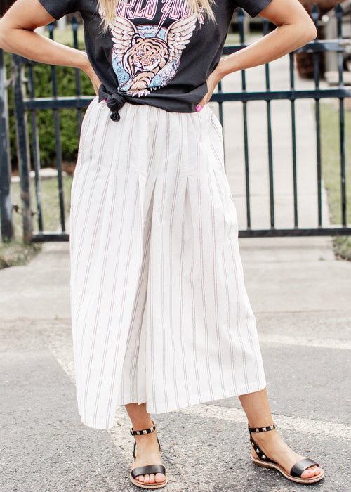 Wide Leg Stripe Cotton Pants