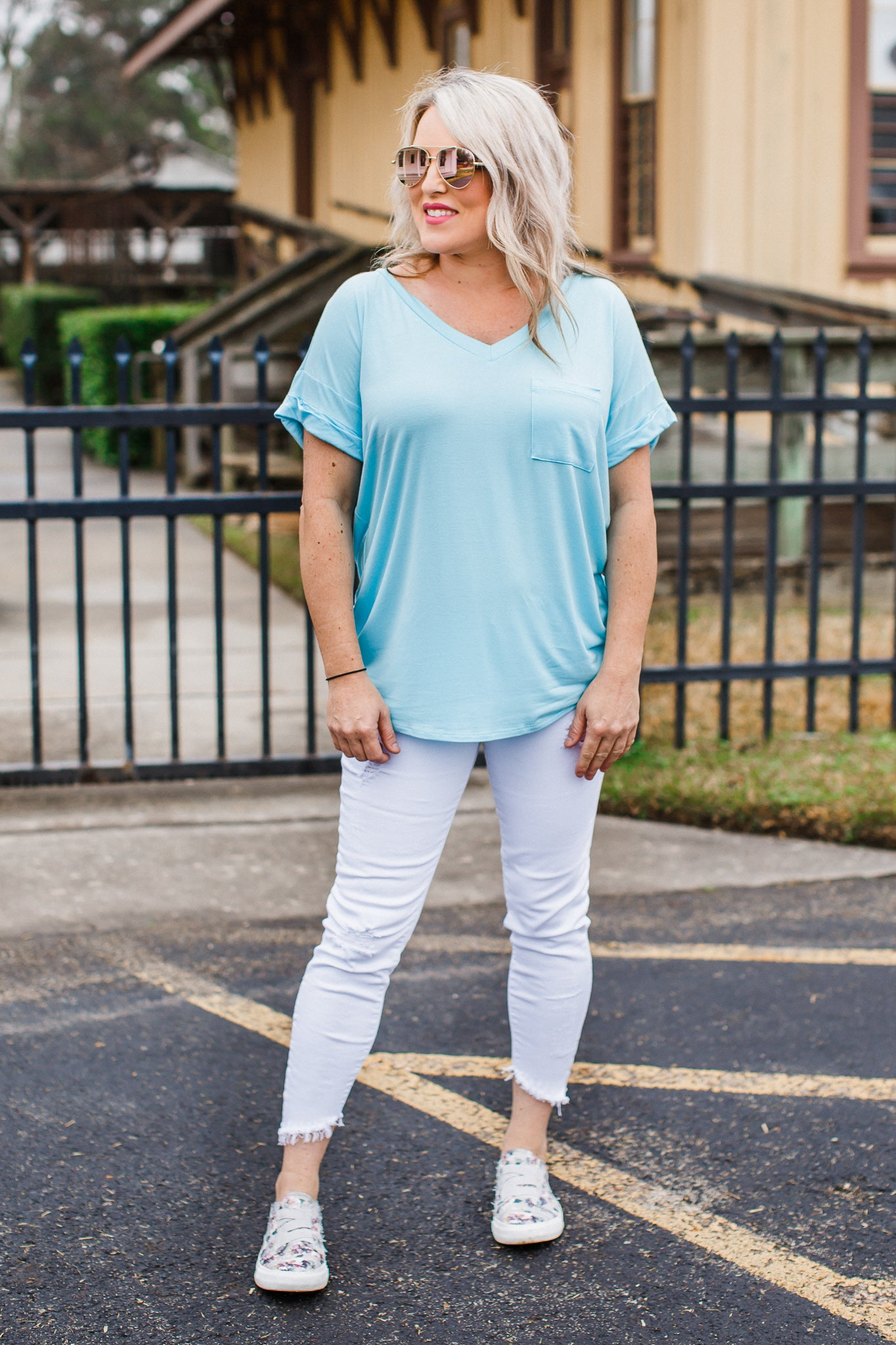 Sky Blue Boyfriend V-Neck Top ( CAN FIT XL )