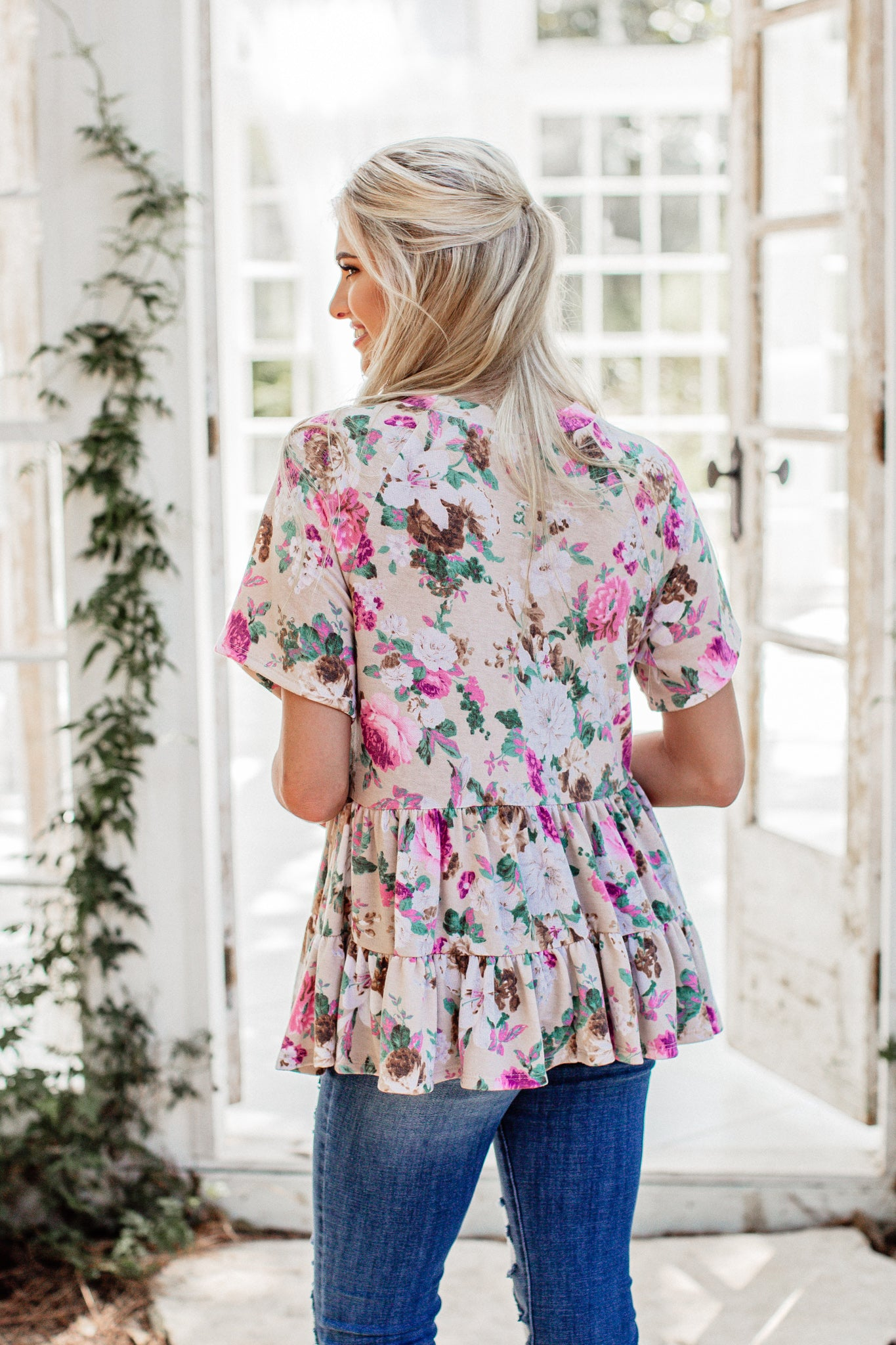 Taupe Floral Baby Doll Top