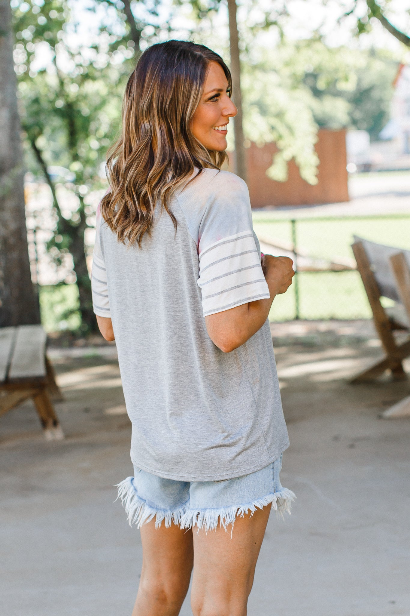 Grey Tie Dye Sleeve Top (S-3X)