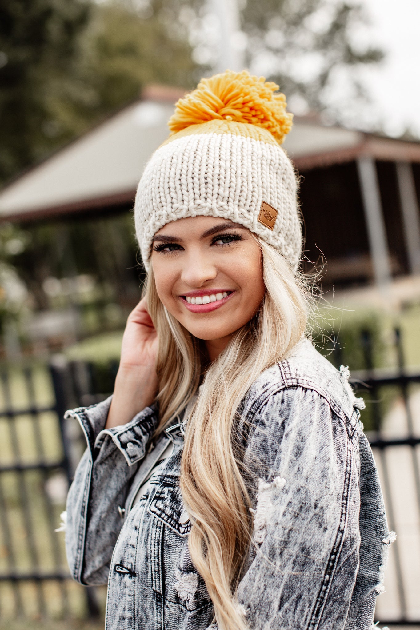 Big Pom Knit Fleece Lined Beanie *MUSTARD