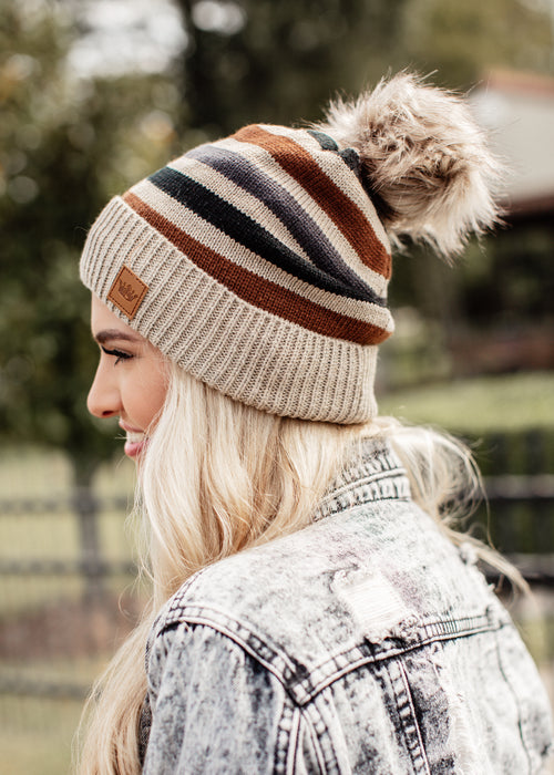 Multi Stripe Pom Beanie *Black/Brown/Blue