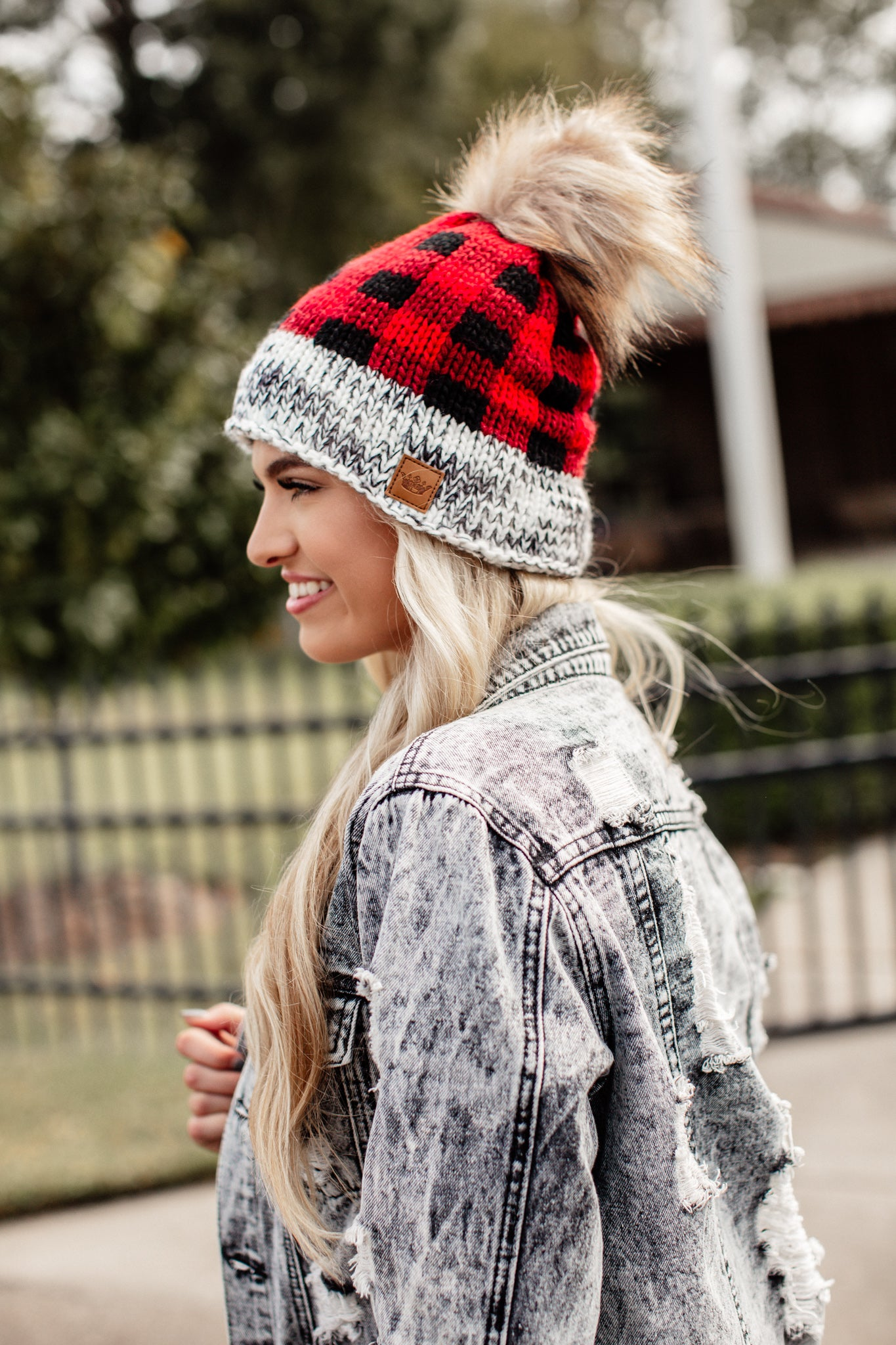 Red and Black Checkered Pom Beanie