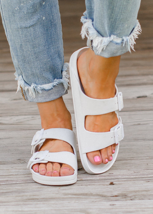 White Mia Buckle Sandals (6-11)